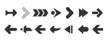Black arrows set isolated on white background. UI and web design.