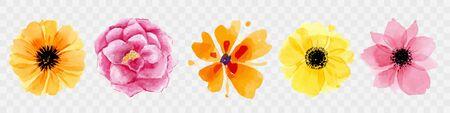 Vector floral bouquet design: garden pink peach lavender creamy powder pale Rose wax flower. Wedding vector invite card Watercolor designer element set