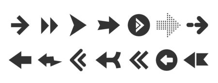 Black web arrows set isolated on white background. UI and web design.  イラスト・ベクター素材