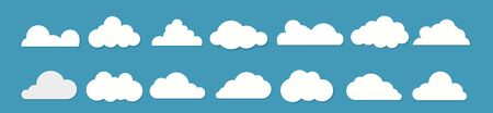 White clouds flat design set on blue background. Vector