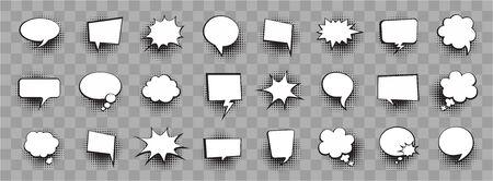Retro comic bubbles set with halftone shadows on white background. Vector illustration, vintage design.