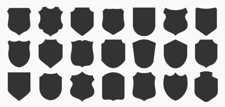 Big shields collection. Black silhouette shield shape, black label. Vintage or retro shields set.