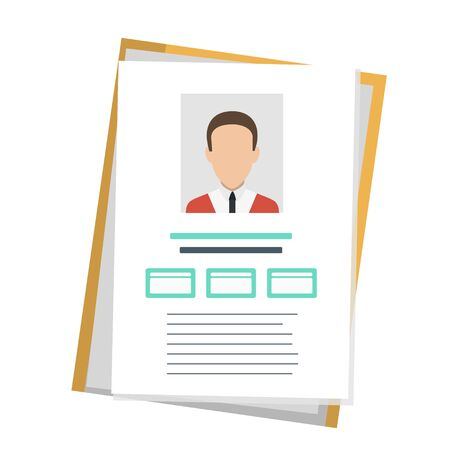 Identity document with person photo and info. Vector icon