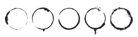 Grunge circle brush ink frames set.