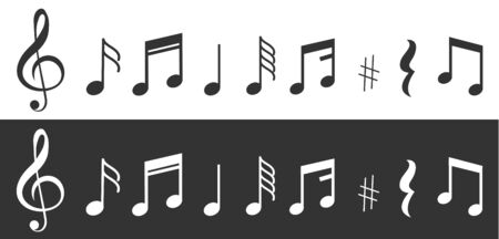 Musical notes icons set. Vector illustration eps
