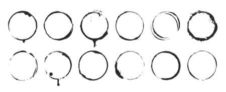 Grunge circle brush ink frames set. Vector eps 10 set