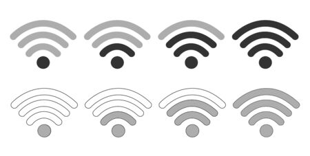 Wifi Wireless Lan Internet Signal Flat Icons For Apps Or Websites - On white