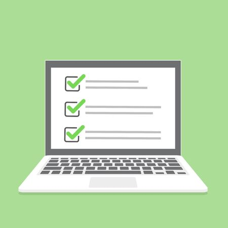 Laptop with online checklist in a flat design. Vector