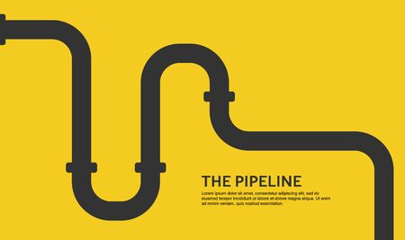 Web banner. Industrial background with yellow pipeline. Oil or gas pipeline. Vector illustration