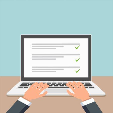 Laptop with online checklist flat design. Vector