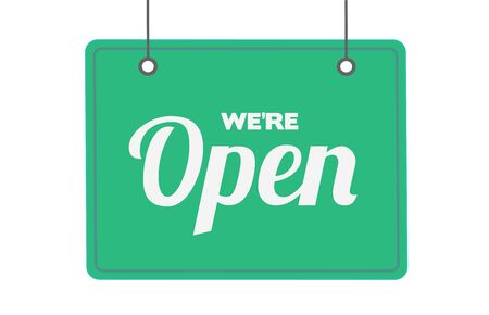 Come in we are open hanging sign vector