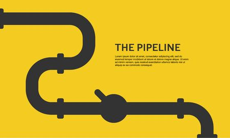 Web banner template. Industrial background with yellow pipeline. Oil or gas pipeline. Vector illustration Vettoriali
