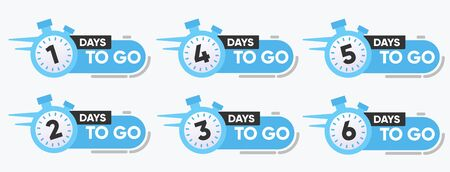 Vector Illustration Number of Days to go with watch Badge for Sale, Promotion  イラスト・ベクター素材