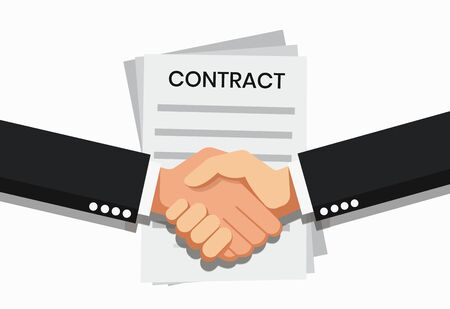 Vector illustration businessman handshake, contract signing. Background for business and finance. Signing document  イラスト・ベクター素材