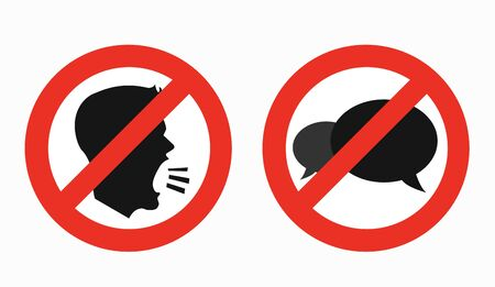 Keep silence glyph icons, prohibition and forbidden  イラスト・ベクター素材