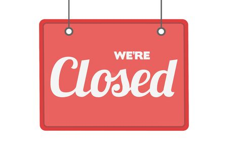Sorry we are closed hanging sign vector illustration