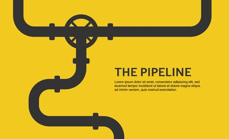 Web banner template. Industrial background with yellow pipeline. Oil, water or gas pipeline. Vector illustration Vettoriali