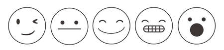 Iconic illustration of satisfaction level. Range to assess the emotions of your content. Feedback in form of emotions.
