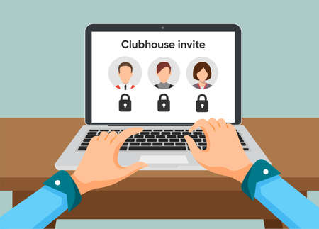 Clubhouse app on the laptop. Person typing sending invitation to Clubhouse