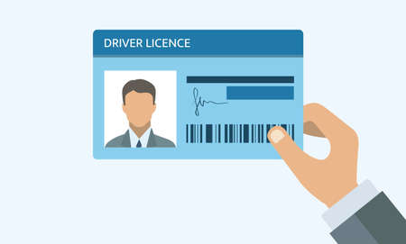Hand holding Driver license. ID card. Identification card icon. Man and woman driver license card template.