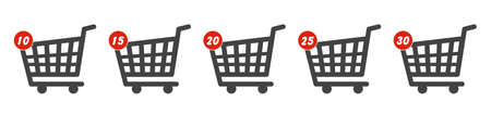 Online shopping cart icon design with notification about numbers of items in the shopping cart.
