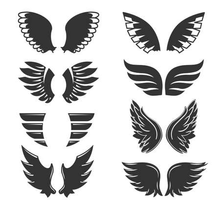 Set of hand drawn bird or angel wings of different shape in open position. Contoured doodle Vecteurs