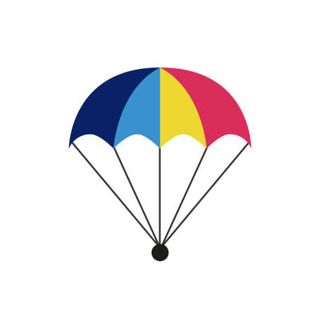 Parachute icon isolated on white background. Parcel with parachute for shipping. Delivery service, air shipping concept, bonus.