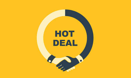 Hot deal concept with handshake isolated on white Ilustración de vector
