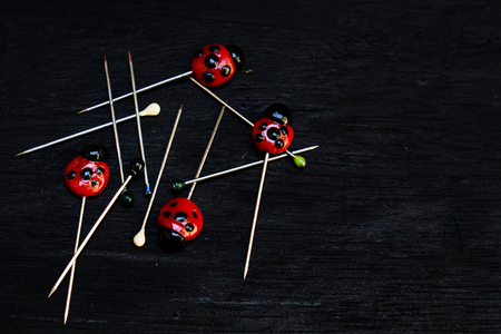 Messy Lady Bug Clay and Round Head Pins on Black Wood Background