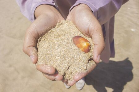 Girl Hold White Sea Sand With a Orange Clam Shell