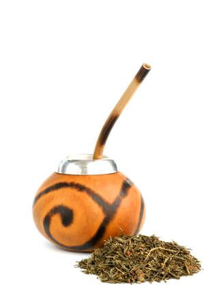 yerba mate: Atributos de t� de Yerba Mate argentino - calabaza y bombilla