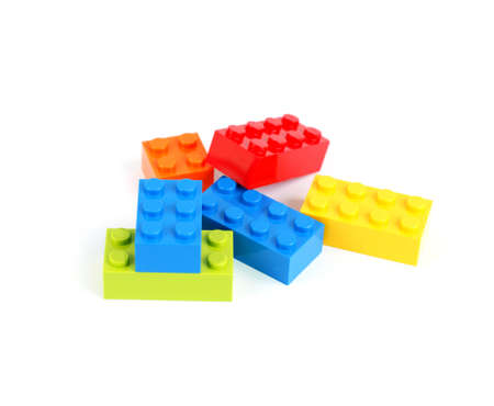 Color lego blocks on white background Stock Photo - 9879347