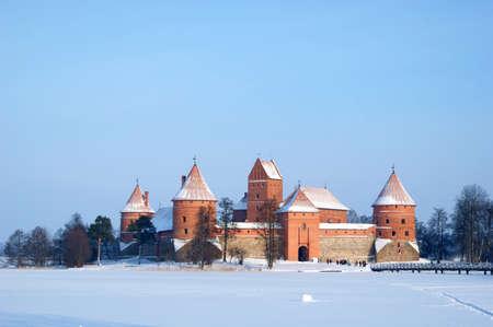 castle on lake in  winter
