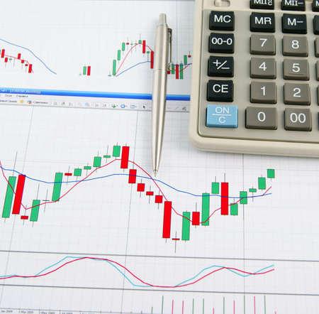 handel: Taschenrechner und Stift an der B�rse Chart-Hintergrund