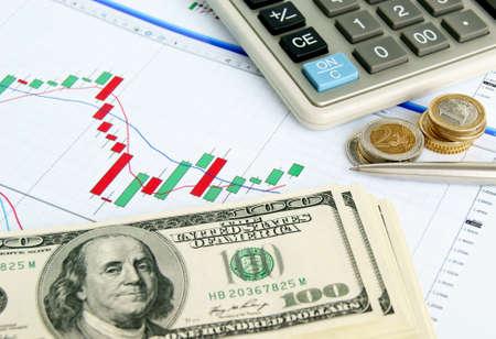 perdidas y ganancias: Calculadora, bolígrafo, dólares y euros en el fondo del gráfico de cambio