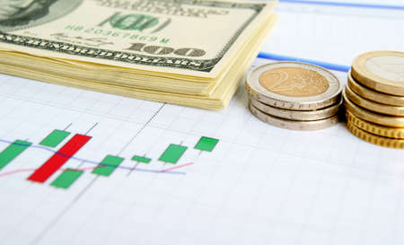 Dollar notes and euro coins on the exchange chart background photo