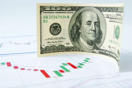 Dollar note on the exchange chart background