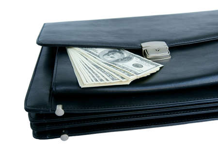 Black briefcase and money isolated on white background Stock Photo - 10083026