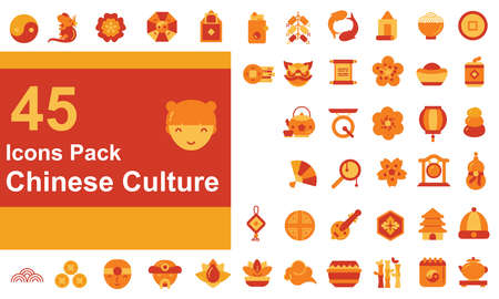 filled outline icons pack about chinese culture and modern festivals celebrate the new year with ornament lantern decorations Lotus flower  イラスト・ベクター素材