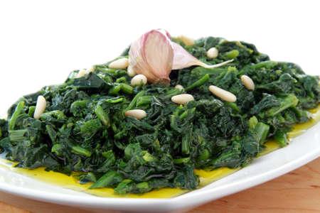 spinach whit garlic end olive oil Foto de archivo