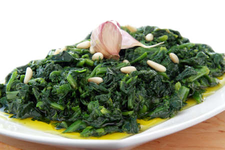 whit: spinach whit garlic end olive oil Stock Photo