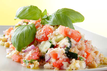 panzanella with tomatoes, cucumbers, onions and basil Foto de archivo