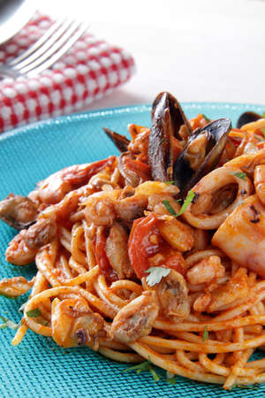 Spaghetti with seafood photo
