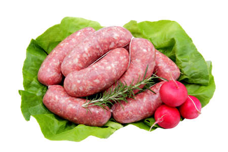 BEEF AND PORK SAUSAGE ON THE  WHITE BACKGROUND