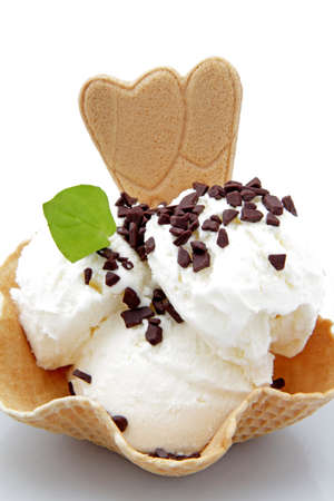 stracciatella: stracciatella ice cream with chocolate on white background