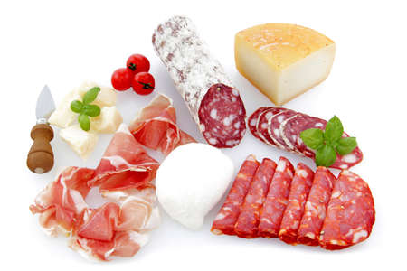 charcuterie and cheese platters on a white background Foto de archivo