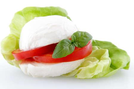 caprese with mozzarella cheese and tomato on white background Foto de archivo