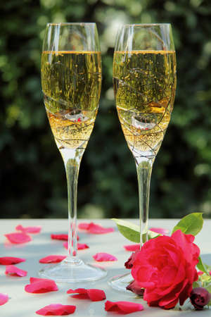 aperitif: two glasses of champagn