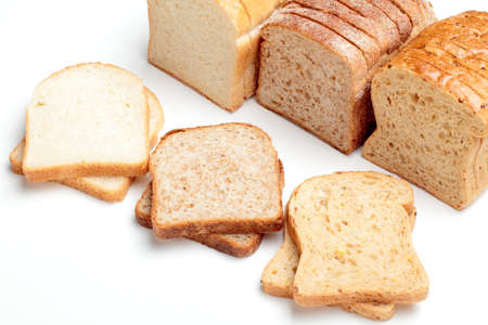 integral oven: SLICED BREAD FOR TOAST ON WHITE BACKGROUND Stock Photo