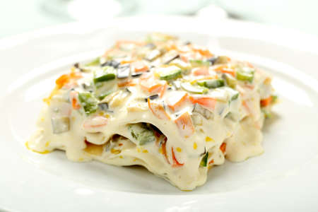 vegetarian lasagna with vegetables and cheese photo